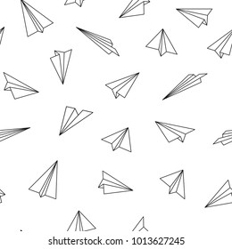 Vector seamless pattern with origami planes. Abstract creative background.