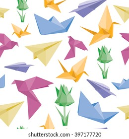 Vector seamless pattern with origami planes, birds, flowers and paper boats