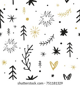 Vector seamless pattern, ornament, wallpaper, wrapping paper, funny hand drawn elements, cute drawings, snowflakes, Christmas, New Year, celebrate, holidays, white background, print.