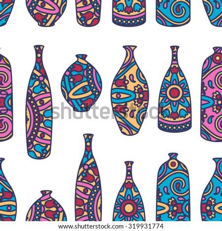 Vector Seamless Pattern Ornamental African Vases Stock Vector