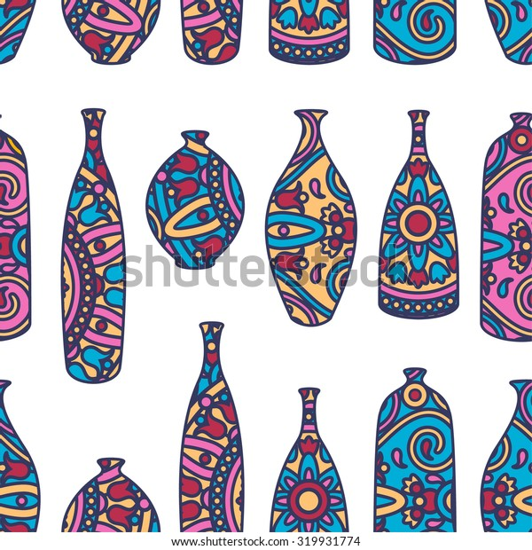 Vector seamless pattern with ornamental african vases