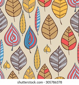 Vector seamless pattern with ornamental autumn leaves.