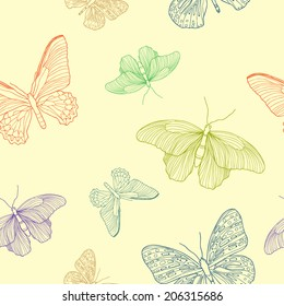 Vector seamless pattern with ornamental bright butterflies