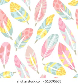 Vector seamless pattern of ornamental feathers