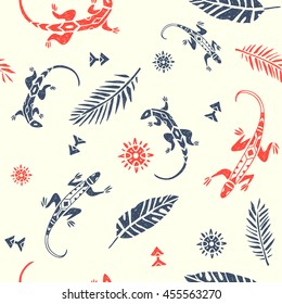 vector seamless pattern with ornamental lizards and palm leaves