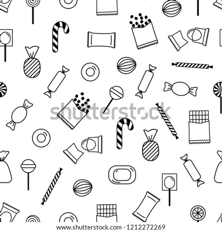 Vector Seamless Pattern Outline Candies Candy Stock Vector Royalty