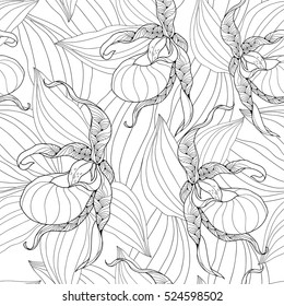 Vector seamless pattern with outline Cypripedium calceolus or Lady's-slipper orchid and leaves on the white background. Elegance floral background in contour style for summer design and coloring book
