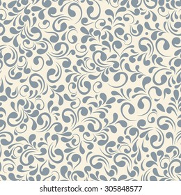 Vector seamless pattern with outline decorative leaves. Beautiful floral background, neutral texture. Can be used for textile, website background, book cover, packaging, wedding invitation.