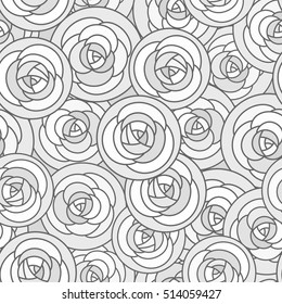 Vector seamless pattern with outline decorative roses in gray tones. Beautiful floral background, stylish abstract flowers