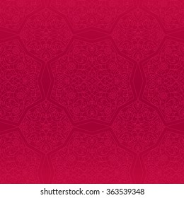 Vector seamless pattern with outline floral ornament. Vintage design element in Eastern style. Ornamental lace tracery. Ornate floral decor for wallpaper. Traditional arabic decor on red background.