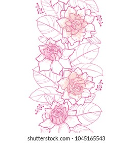 Vector seamless pattern with outline Gardenia in pastel pink color. Ornate flower, bud and leaves on the white background. Elegance floral vertical border with contour Gardenia for summer design.