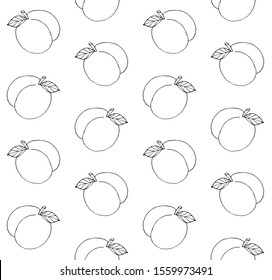Vector seamless pattern of outline hand drawn doodle sketch peach isolated on white background