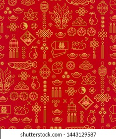 Vector seamless pattern with outline illustration of Chinese style design elements on red bacrground. Rat zodiac sign, symbol of 2020 on the Chinese calendar. White Metal Rat, chine lucky.