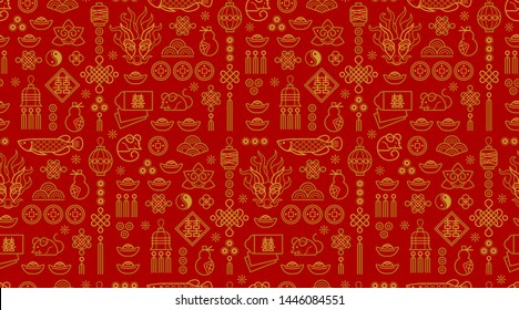 Vector seamless pattern with outline illustration of Chinese style design elements on red background. Rat zodiac sign, symbol of 2020 on the Chinese calendar. White Metal Rat, chine lucky.