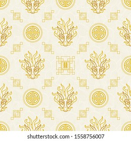Vector seamless pattern with outline illustration in Chinese style. Dragon head, design ornamental Chinese elements on red background.