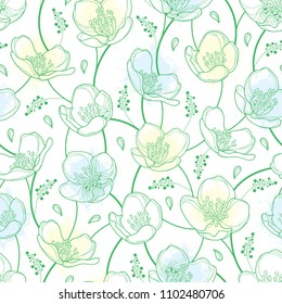 Vector seamless pattern with outline Jasmine flowers in pastel white and green on the white background. Elegance floral background with jasmin in contour style for summer design.