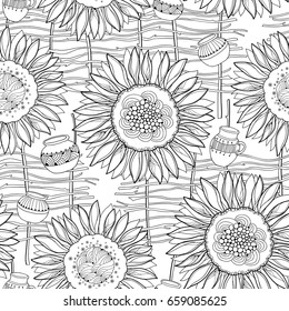 Vector seamless pattern with outline open Sunflower, wicker fence and jug on the white background. Floral pattern with ornate Sunflowers in contour style for rural summer design or coloring book.