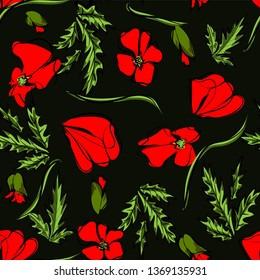 Vector seamless pattern with outline red Poppy flower, bud and green leaves on the black background. Elegance floral background with ornate poppies in contour style for summer design