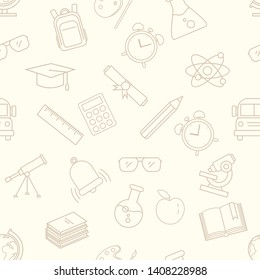 Vector Seamless Pattern with Outline School Icons on Beige Background