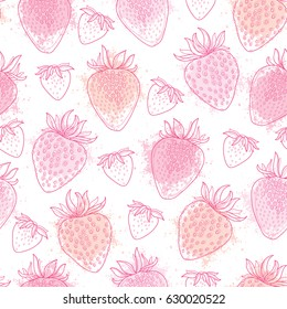 Vector seamless pattern with outline Strawberry and blots in pink pastel color on the white background. Elegance floral background with Strawberry in contour style for summer design.