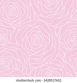 Vector seamless pattern with outline stylized roses. Beautiful floral background. Floral, retro, doodle, design element. Can be used for textile, book cover, packaging, wedding invitation.