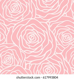 Vector seamless pattern with outline stylized roses. Beautiful floral background.  Can be used for textile, book cover, packaging, wedding invitation.