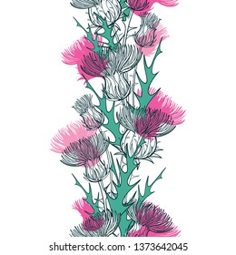 Vector seamless pattern with outline Thistle or Carduus plant, spiny leaf, bud and flower in green and pastel pink on the white background. Vertical pattern with summer Thistle flowers.