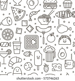 Vector seamless pattern with outlined iconic illustration of restaurant and fast food like coffee, pizza, wafer, burger, ice cream and Chinese plates. Black and white line art.