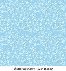 Vector seamless pattern with outlined seafaring and nautical signs. Blue and white color palette. Minimalistic design for web background.