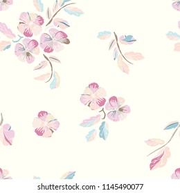 Vector seamless pattern of pancy flowers. Floral background for textile, shawl design, book and diary covers, wallpapers, print, gift packaging and scrapbook, graphic art, printing