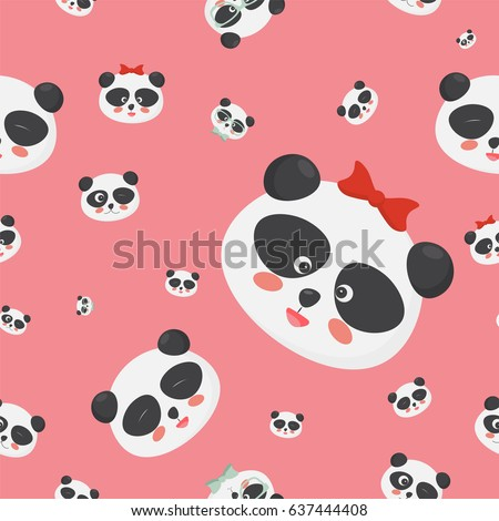 vector seamless pattern panda bear faces stock vector royalty free