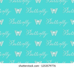 Vector seamless pattern of paper cut white butterflies on turquoise background. Repeating background for children décor, greeting card, stationery, poster.Butterfly copperplate calligraphy, lettering