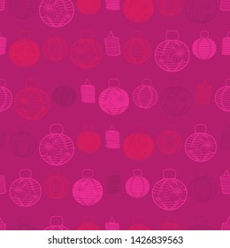 Vector  seamless pattern with paper lanterns. Suitable for textile, gift wrap and wallpaper.