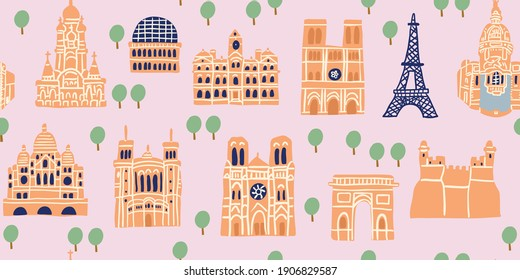 Vector seamless pattern with Parisian landmarks, monuments, trees on pink background. Tourist pattern with french landmarks.