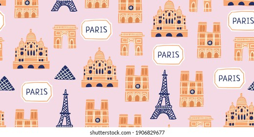 Vector seamless pattern with Parisian landmarks, parisian sign, trees on pink background. Tourist pattern with french landmarks.