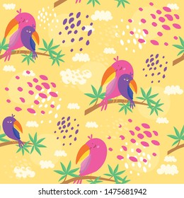 vector seamless pattern with parrots, mom and baby sit on a branch of an exotic tree