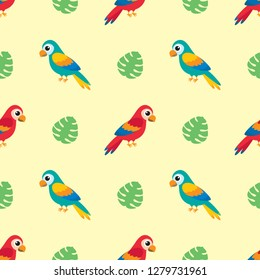 Vector seamless pattern with parrots and palm leaves
