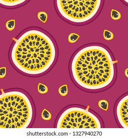 Vector Seamless pattern with Passion Fruit and Purple background.
