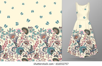 Dress designing images stock photos vectors shutterstock vector seamless pattern with pastel blue pink beige flowers and butterfly ornament on white background stopboris Gallery