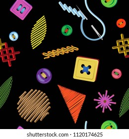 Vector seamless pattern patterns of embroidery of different shapes and sewn on buttons. On a black background
