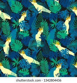 Vector seamless pattern, pattor, cockatoo, exotic birds, tropical flowers, palm leaves, bird of paradise