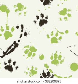 Vector seamless pattern with paw footprints of a dog (wolf), stains and smears. Cute hand drawn steps drawn with watercolors. Bright texture for consumer industry design
