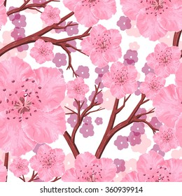 Vector seamless pattern with peach pink flowers and brown branches on white background. Ornament made from watercolor hand painted elements.