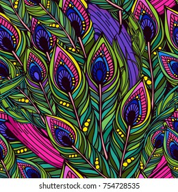 Vector seamless pattern of peacock feathers Endless background.Vector backdrop. Bright pattern. Use for wallpaper, web page background