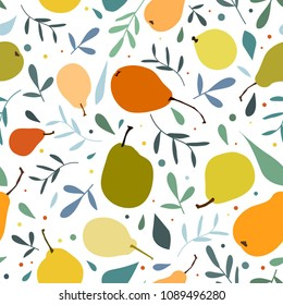 Vector seamless pattern with pears. Cute summer colorful fruits background. Illustration for wedding, invitations, paper, textile design.