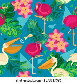 Vector seamless pattern. Pelicans and flamingos in tropical leaves and flowers against the background of the color of the sea wave with triangles
