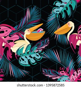 Vector seamless pattern. Pelicans in tropical leaves on the background of contour hexagons