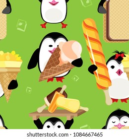 Vector seamless pattern of penguins with Ice Cream. On a bright green background