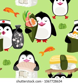 Vector seamless pattern of penguins with Sushi. On a pastel green background