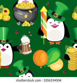 Vector seamless pattern of penguins with the symbols of St. Patrick's Day. On a dark green background